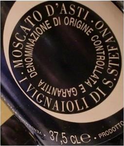 L'abbinamento del vino eseguito dal Sommelier Vincenzo Donatiello: Moscato d'Asti 2012 Vignaioli di S.Stefano
